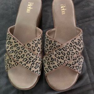 Reba Payden Cheetah Leopard cork Wedge sandals 9